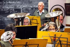 Blowing hard: The Thompson's Foundry Band brass and horn section practise in Castlemaine.