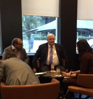 A snap of Clive Palmer at Perth's Hilton Hotel on Tuesday,