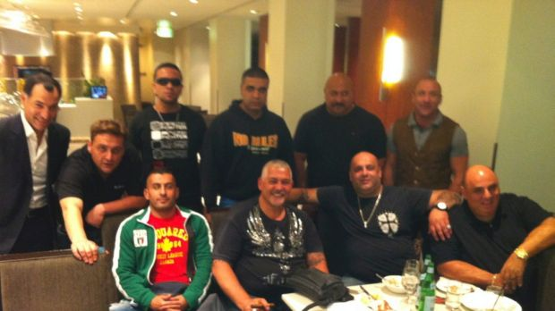 Best of times: George Alex (second from left, back row). Front row: Alex 'little Al' Taouil, Mick Gatto, Fat Ange and ...