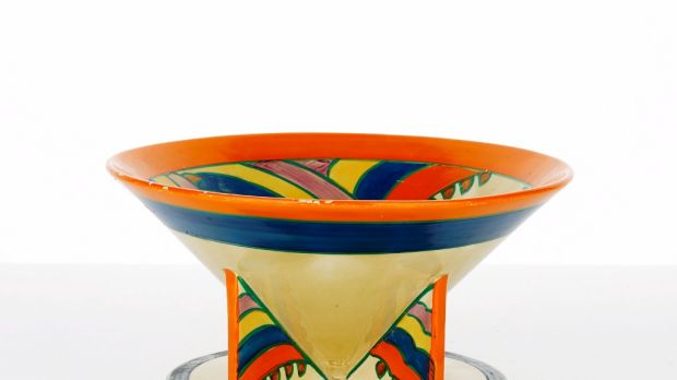 Bold brushstrokes: Clarice Cliff's sought-after 'Bizarre' conical footed bowl with 'shark's teeth' pattern.