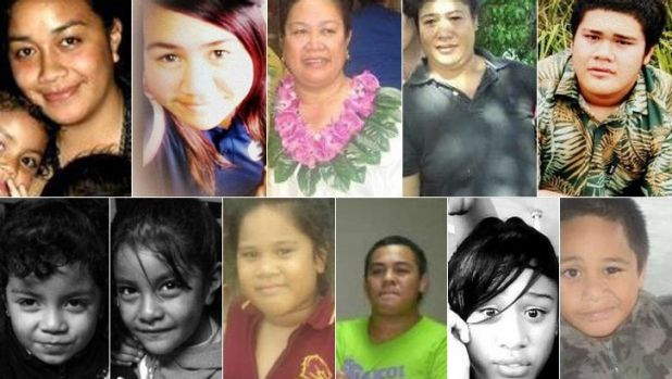 The victims: from top left Anamalia Taufa, Ardelle Lee, Fusikalau Taufa, Neti-Teukisia Lale, and Jerry Lale. From bottom ...