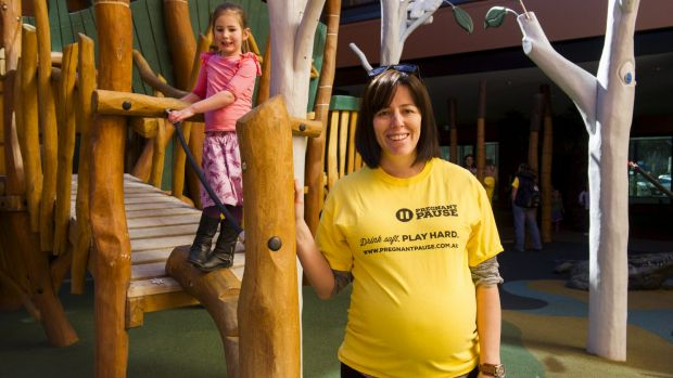 Wendy Dawes (and daughter Beatrice, 4), who is expecting her third child, at the launch of the Pregnant Pause awareness ...