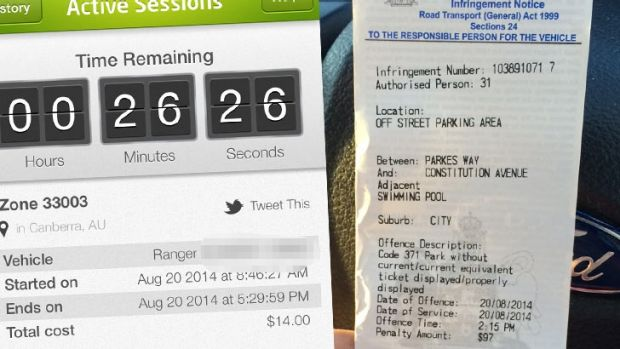 Fined: Matthew Graham's parking ticket, right, and a screen shot showing how much time he had left according to the app.