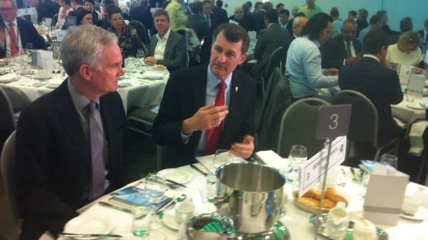 Lord Mayor Graham Quirk talks with AECOM's Richard Morwood.