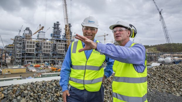Premier Campbell Newman and Santos CEO David Knox on Curtis Island at the Santos GLNG project.