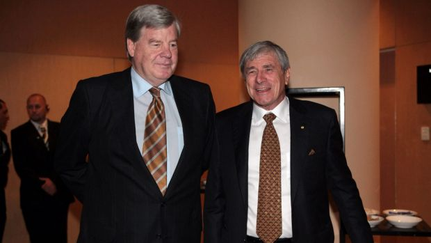 David Leckie (left) with Seven Group Holdings executive director Kerry Stokes.