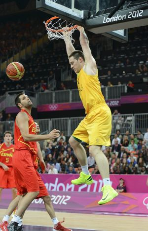 International experience: Australian big man Aron Baynes dunks during the London Olympics.