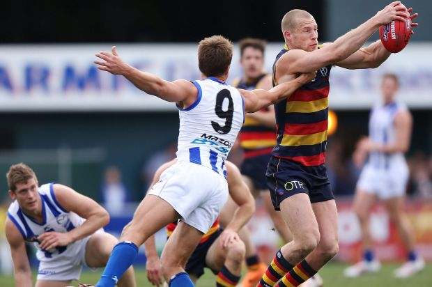 Andrew Swallow keeps a hand on Crow Scott Thompson.