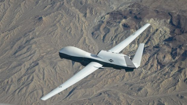 A US drone patrols the skies.