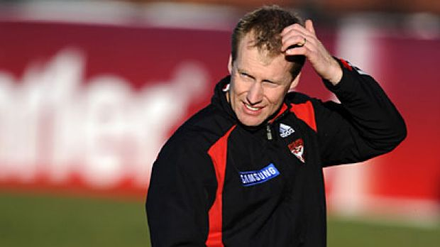 Searching for answers: Essendon coach Matthew Knights ponders how to end a run of losses.