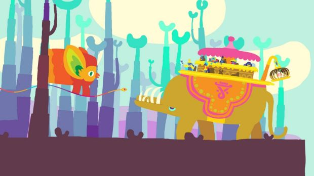 Making an introduction in one of <i>Hohokum</i>'s more bizarre scenarios (and that's saying something).