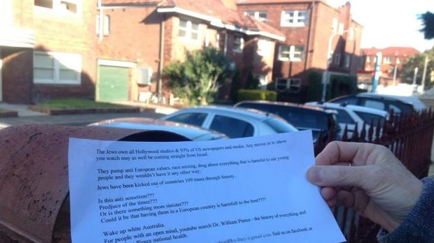 Disgust: Anti-Semitic flyers have been distributed in Bondi.