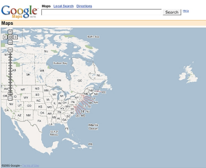 A screen grab showing a very early version of Google Maps.