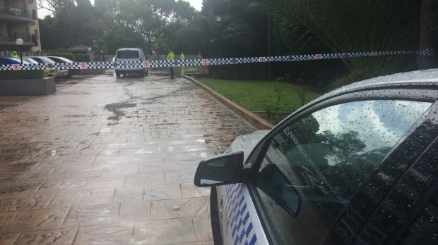 Police at the Monarco Estate complex in Westmead after a woman'€™s body was found.
