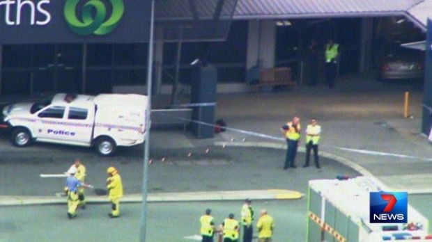 Five people were injured when a car crashed into a Caboolture supermarket.