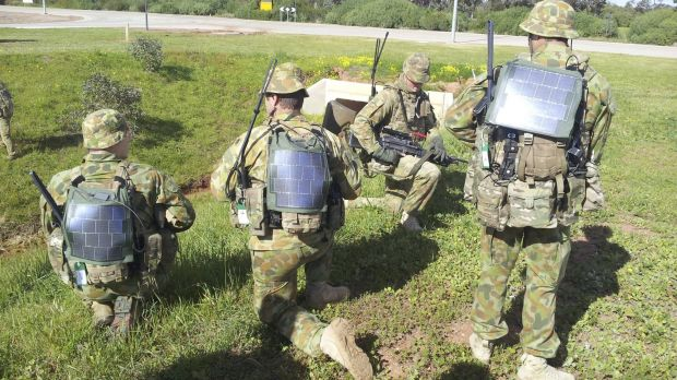 Defence trials of the solar backpack technology developed by the ANU.