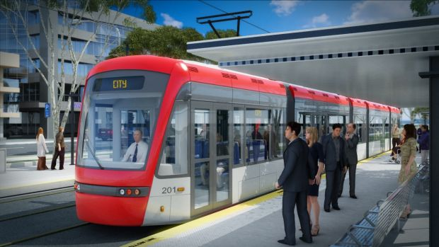 An artist's impressions of the proposed Capital Metro light rail.