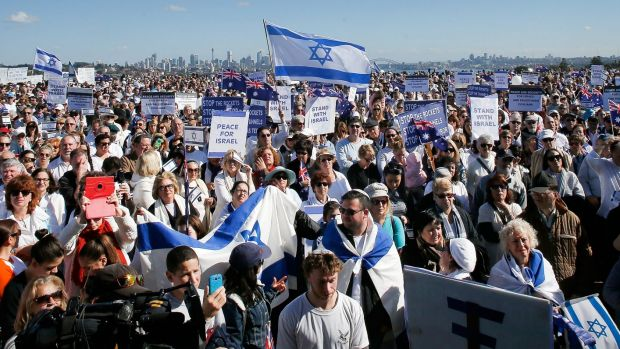 Pro-Israeli activists gather in Sydney recently.