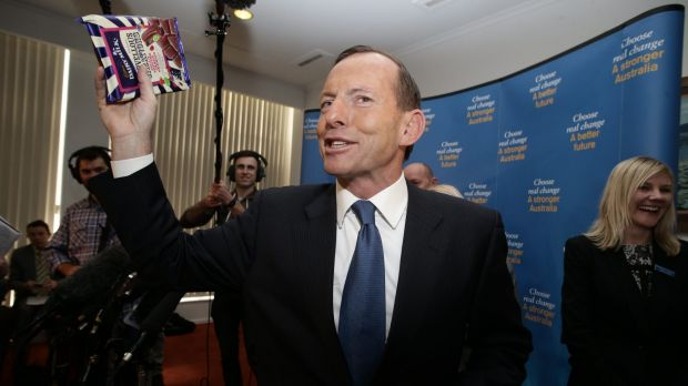 Tony Abbott, then opposition leader, at the Cadbury factory in Hobart during the 2013 election.