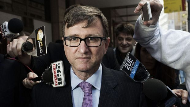 Alleged affair: Health Services Union barrister Mark Irving leaves the royal commission.
