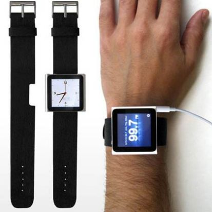 An iPod mounted as an iWatch.