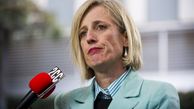 ACT Chief Minister Katy Gallagher faces questions from the media about Mr Fluffy.