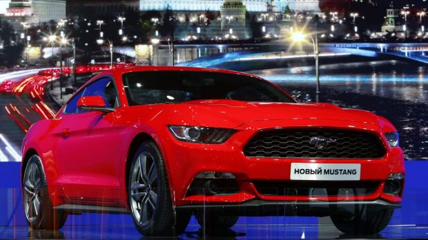 Designed as a 'world car' the 2015 For Mustang on display in Russia.