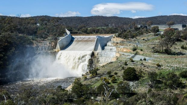 The Googong Dam, when it reached capacity in September.