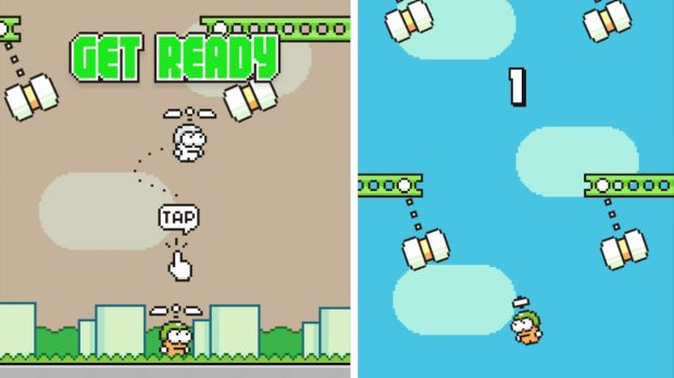 Get ready to fail repeatedly in <i>Swing Copters</i>.
