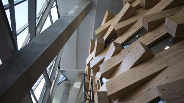 The inside of the Gehry building.