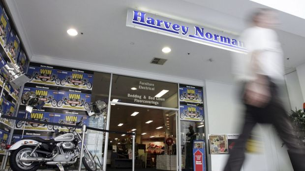 Woolworths, Harvey Norman and JB-HI-FI as the retailers most at risk.