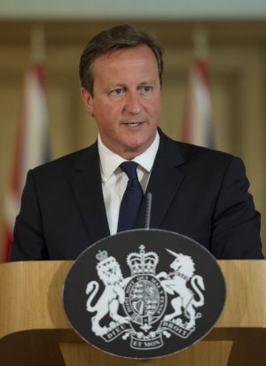 British Prime Minister David Cameron speaks to the media from Downing Street.