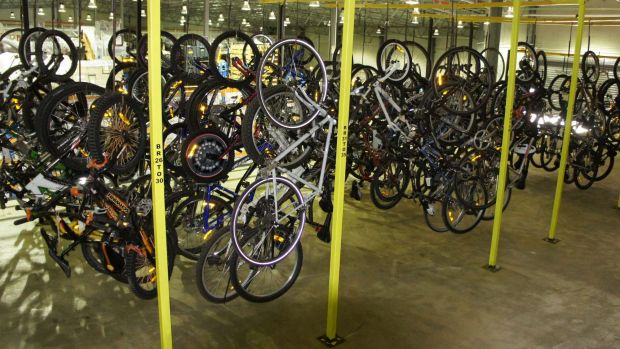 Bikes at ACT Policing's Exhibit Management Centre which have been seized or handed in after being found by the public.