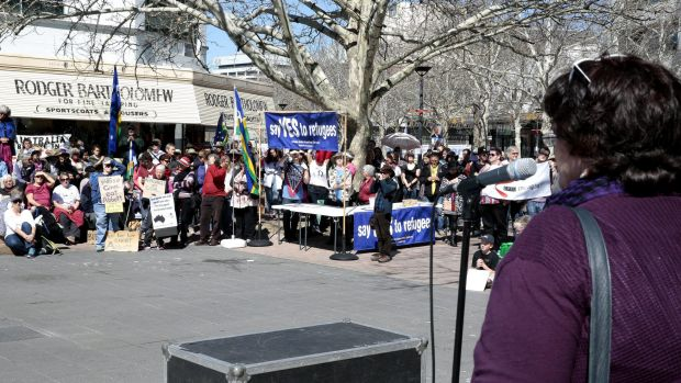 Unions ACT secretary Kim Sattler addresses the March Australia rally.