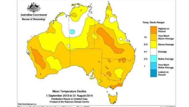Eastern states are in the midst of hottest year on record for mean temperatures.
