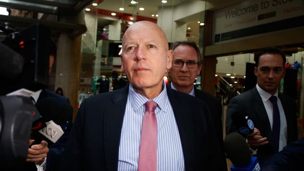 Chris Hartcher leaves the Independent Commission Against Corruption after giving evidence.
