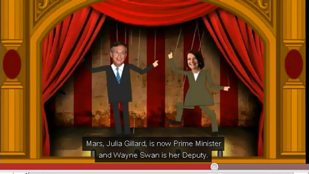 "A grab from the Liberal Party's ""Puppet Show Master"" attack ad."