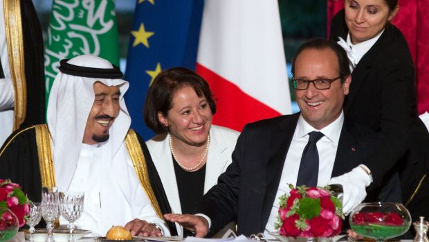 Uneasy alliance: Saudi Crown Prince Salman bin Abdulaziz al-Saud laughs with French President Francois Hollande at an ...