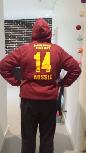 A student from University of Western Sydney campus wearing the banned hoodie.