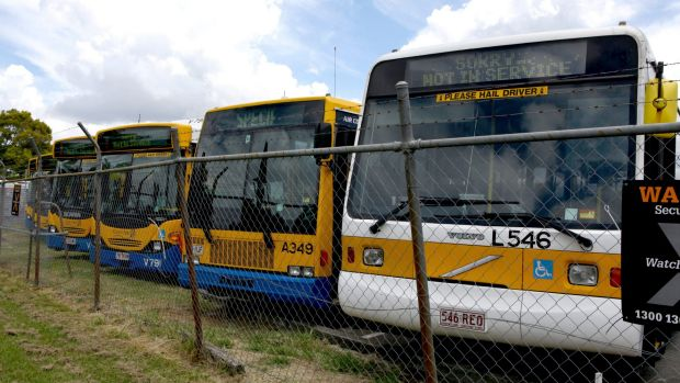 Buses at the Brisbane City Council Virginia depot.