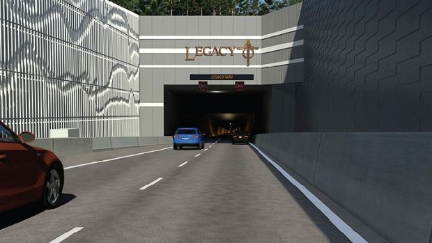 The eastern portal to the Legacy Way tunnel in Kelvin Grove.