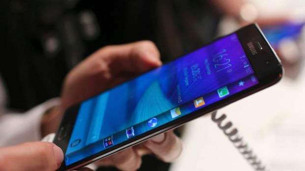The Samsung Galaxy Note Edge, a version of the Note 4 with a curved screen.