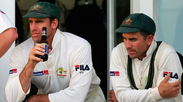 Justin Langer, right, is keen to see white balls trialled in the Sheffield Shield.