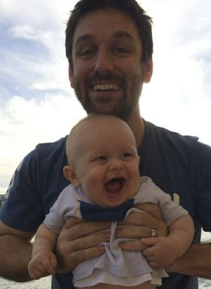 John O'Brien and his baby boy, Jude, who is missing in the Rozelle explosion.