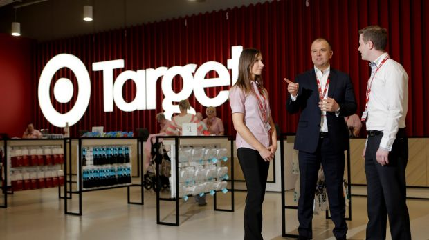 Target boss Stuart Machin  tours the new Frankston store with manager ScottWithey and homeware manager Hanna Brasier.