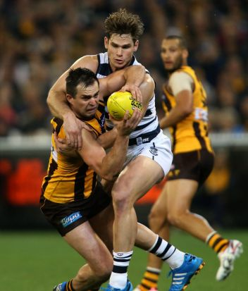 Tom Hawkins battles with Brian Lake  during the AFL 2nd Qualifying Final match between the Hawthorn Hawks and the ...