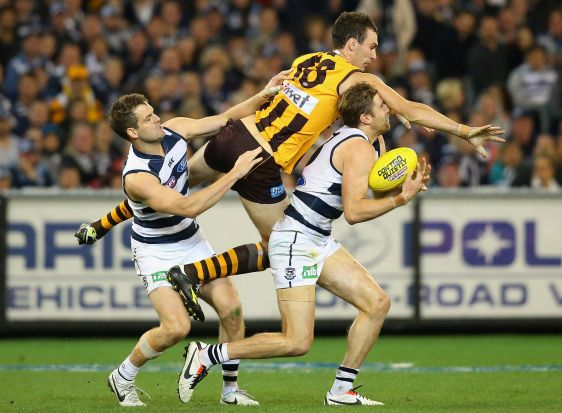 Jonathon Ceglar of the Hawks and Tom Lonergan of the Cats compete for a mark during the AFL 2nd Qualifying Final match ...