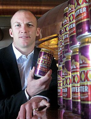Darren Locker at the launch of the new cans at Brisbane's Fourex brewery this morning.