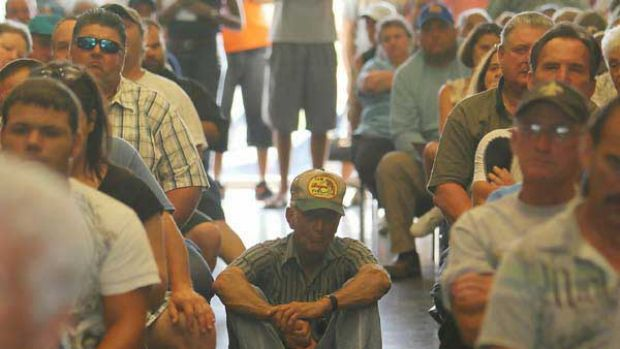 The wait: Louisiana residents meet to hear about compensation claims. <i>Picture: Getty</i>
