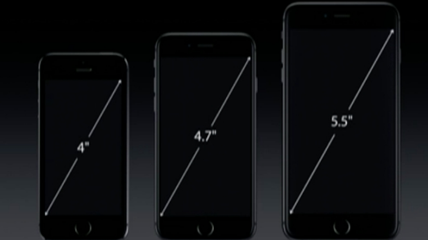 Side by side: The iPhone 5S, 6 and 6 Plus.